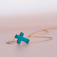 Turquoise Sideways Cross Necklace Turquoise Necklace by matoto