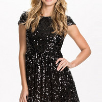 Black Sequined Lace Skater Dress