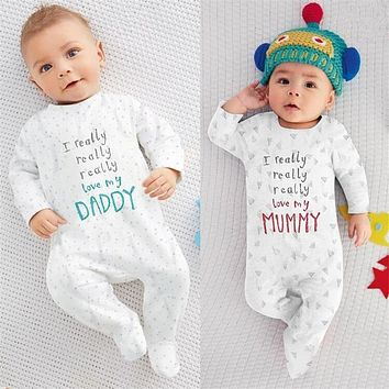 Autumn Baby Romper Newborn Clothes Cotton Long Sleeve Baby Boy Girl Jumpsuit Letter I Love Mom I Love Dad Infant Baby Clothing