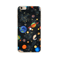 Astronaut Stars Planets Dark Blue Back Case Cover For Apple iPhone 6/6s 4.7