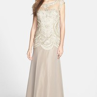 Sue Wong Embroidered Georgette Gown