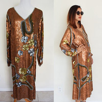 Vintage sequin gold cocktail party maxi loose fit  lounge floral flower beaded disco sparkling new year Gatsby dress