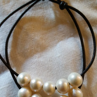Seasidepearls30A Original Genuine 10 Freshwater Pearl and Leather Bracelet.