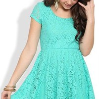 Lace Skater Dress with Cap Sleeves and Scoop Neck
