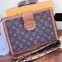 LV New fashion monogram print leather two sides color shoulder bag crossbody bag