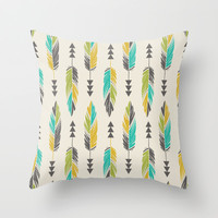 Painted Feathers in a Row-Cream Throw Pillow by Bohemian Gypsy Jane   Society6