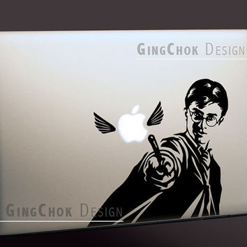 Harry Potter silhouette Macbook decal, Mac black vinyl sticker, laptop decal, Macbook sticker, laptop sticker, Macbook pro, Macbook air