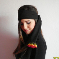 Needle Lace Black and Neon Headband,Black and Neon Colors Scarf