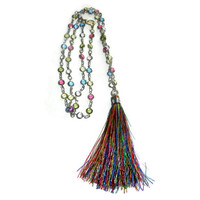 Thin, delicate, colorful necklace with multicolored tassel.
