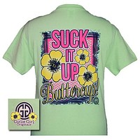 Sale Girlie Girl Originals Collection Suck It Up Buttercup Mint Green Bright T Shirt