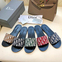 Dior LOGO Letter Sandals Flat-soled Slippers Shoes