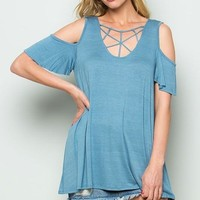 Cold Shoulder Cage Detail Top - French Blue ONLY 1 S LEFT