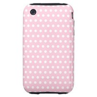 Pink and White Polka Dots Pattern. Tough iPhone 3 Cases
