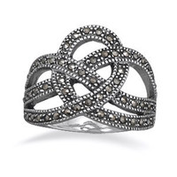 Marcasite Sterling Silver Crown Ring