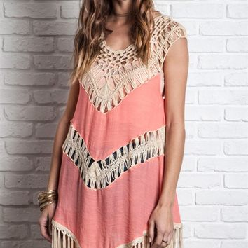 Umgee Pink Sleeveless Crochet Trim Top with Fringe
