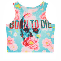 Women's Short Crop Top Floral Skull & Bone Print 3D Short T Shirt Punk Camisole Short Crop Top