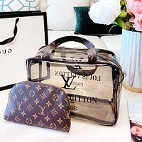 Lv two-piece shopping bag cosmetic bag wash bag Transparent jelly package square