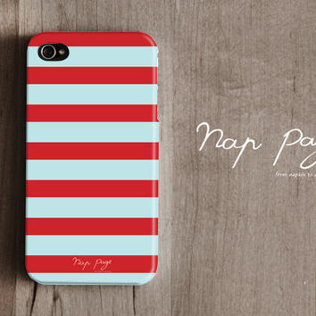 Apple iphone case for iphone iphone 4 iphone 4s iphone 3Gs : Soft blue sea foam color line with red