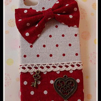 Christmas Gift Diy Handmade Cloth Art Phone Case no.62 Red Dots with Bow for Apple iPhone 5s 5 c 4s Ipod touch 5 LG Optimus G pro Nexus 4 4X