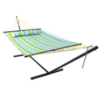 Sunnydaze Decor Blue & Green Hammock with Stand and Pillow