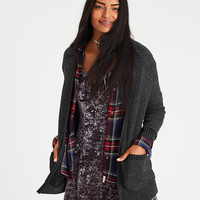 AE Slouchy Plaited Knit Cardigan, Charcoal