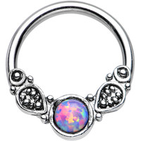 """14 Gauge 1/2"""" Synthetic Light Purple Opal Tribal Fantasy Captive Ring 