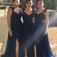 Honey Qiao Bridesmaid Dresses Navy Blue Long Chiffon 2017 Applique with Beaded Sequined Side Split Sexy Prom Formal Gowns