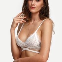 Melody - White Crisscross Lace Triangle Bralette
