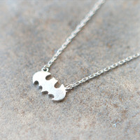 Baby bat necklace in matte silver by laonato on Etsy