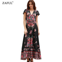 New Women UK Bohemian Summer Short Sleeve Vintage Ethnic Floral Print V neck Female Vestido Beach Party Long Maxi Dress