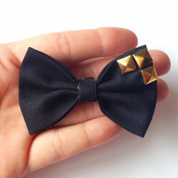 Black Solid Fabric Hair Bow with Gold Studs on Alligator Clip - 2.75 Inch Wide