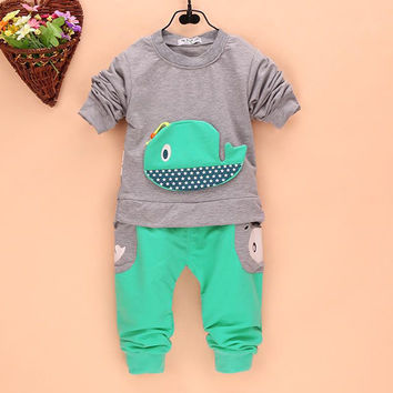 2pcss Outfits 1-4Years Kids Baby Boys Clothes Long Sleeve Whale TopsLong Pants Clothing Sets 4 Colors SM6