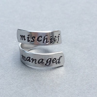 Mischief Managed Harry Potter Ring Hand Stamped Aluminum Ring