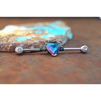 CZ Heart Industrial Barbell 14g or 16g