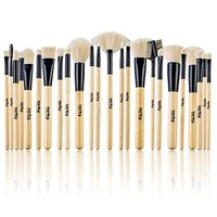 Professional Makeup Brushes 24 pcs Quality Natural Cosmetic Brush Set with Leather Pouch, 24 Count Makeup Bursh set with PU Bag For Eye Shadow, Blush, Concealer (Beige)
