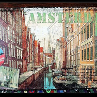 The Famous AMSTERDAM wall poster Retro Tin sign Antique Metal Painting Bedroom Club Bar Iron Wall Decoration