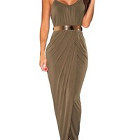 Sexy Womens Halter Draped Gold Belted Open Front Maxi Dress