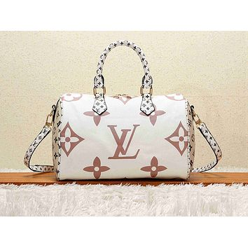 Louis vuitton casual lady shoulder bag hot seller with printed shopping matching color White