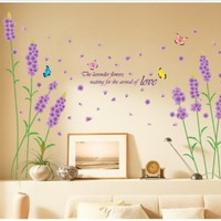 Kappier Beautiful Large Long Stem Lavender Flowers with Butterflies Waiting for the Arrival of Love Wall Decals