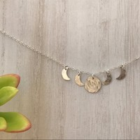 Moon Phase hand hammered adjustable wire wrapped necklace