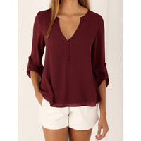 High Quality Women Blouse Sexy Tops Lady Chiffon Shirt New V Collar Solid Color Long Sleeve Blusa 5XL Plus Size Women Clothing