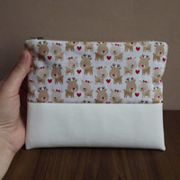 White reindeer zipper, white christmas clutch, white vegan leather pouch with Rudolf reindeer