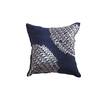Set of 5 Silk Cushion Cover in Blue with Metal Ring Pattern