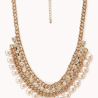 FOREVER 21 Luxe Faux Pearl & Rhinestone Necklace Antic Gold/Clear One