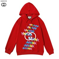 GG color double G print round neck pullover hoodie