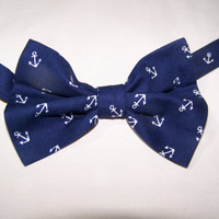 Navy Pre-Tied Anchors Away Nautical Navy with white Anchors Cotton Men's Bow Tie -  Adjustable