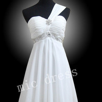 One shoulder sleeveless Knee-length White Chiffon With Beadins Evening/Party/Homecoming/cocktail dress/Bridesmaid/Formal Dress