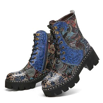 SOCOFY Industrial Style Round Toe Ornate Leather Boots