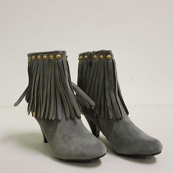 BRECKELLE'S CHER FRINGE BOOTIES - GREY (SAMPLE)