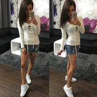 Fashion Solid Color V-Neck Hollow Crisscross Bandage Long Sleeve T-shirt  Tops